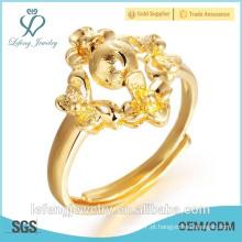 Hand made tamanho ajustável estilo irregular 18k anéis de chapeamento de ouro para a menina