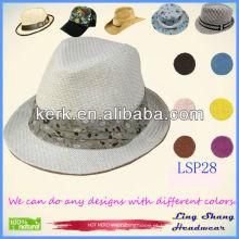 Mais recente moda floral branco mulheres cinto 100% natureza chapéu de palha de papel, LSP28