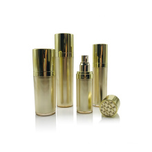 New design gold  silver round plastic container cosmetic pump lotion acrylic bottle and cream jar