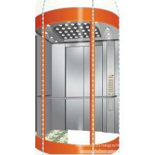 Панорамный лифт с машинным отделением из нержавеющей стали