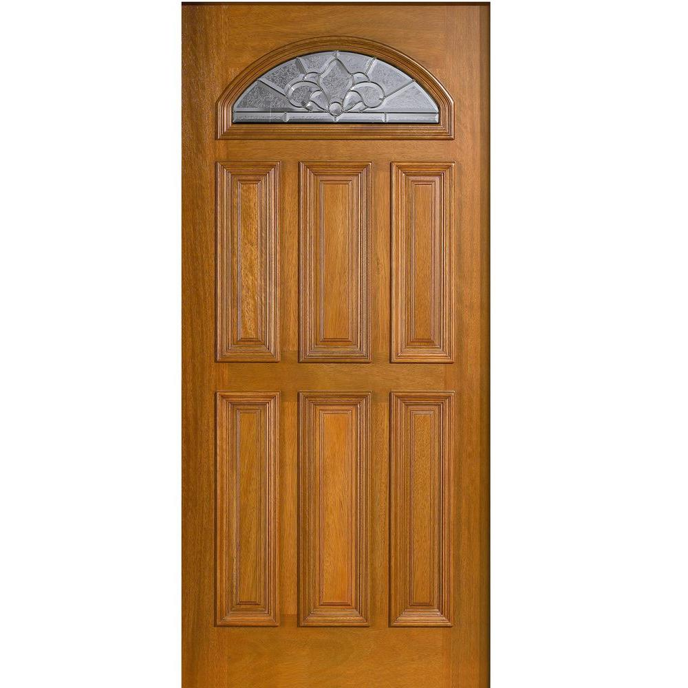 Oak Doors Product : China fan lite unfinished fir front door slab manufacturers