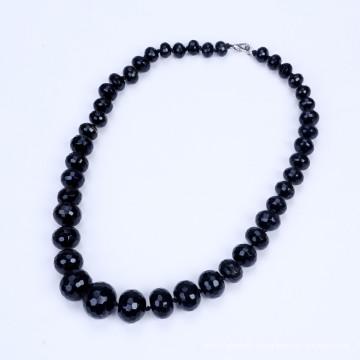 Форма выпускника от 10мм до 20мм Черное ожерелье из агата