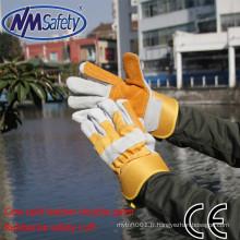 NMSAFETY deux gants en cuir de paume soudé vache gants de sécurité en cuir de sécurité
