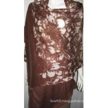 100% Cashmere Knit Printed Shawl Flr017