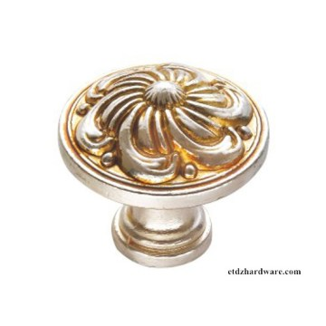 2016 Flower Round Antique Furniture Accessories Zinc Cabinet Knobs