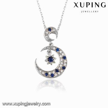 00117 Fashion Rhodium CZ Moon Star Design Bijoux Pendentif Collier