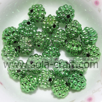 10MM Charm Green Color Plastic Metallic Berry Beads