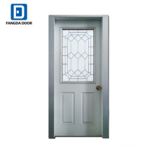 Fangda galvanized steel door with glass,9 lite glass insert steel door