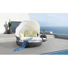 Grau Farbe PE Rattan Wicker Outdoor Lounge Bp-6010