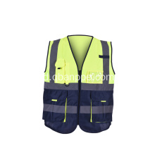 Zipper Safety Vest Dengan Strip Reflektif Kuning