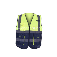 Zipper Safety Vest With Reflective Strips Yellow
