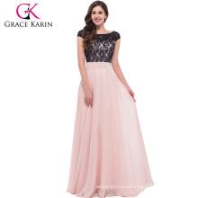 Grace Karin Vestido de noche Lace Chiffon Elegant Robe De Soiree Longue Formal Gowns Party Long Evening Dress CL6152