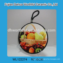 Personalized ceramic trivet with fruit painting for kitchen