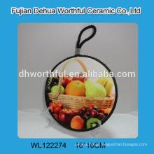 Trivet cerâmico personalizado com pintura de frutas para cozinha