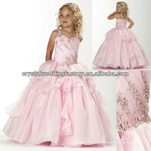 Broderie perlée robe de bal juffée jupe robes roses longues robes de concours CWFaf5214