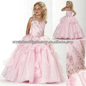 Bordado rebordeado vestido de baile ruffled falda rosa niñas largo desfile vestidos CWFaf5214