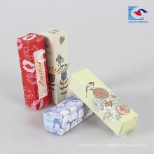 boîte d'emballage de rouge à lèvres naturel imprimé coloré personnalisé pour les filles