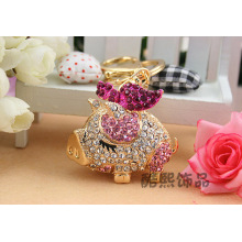 Cute bows little pig creative crystal Keychain 3D rhinestone metal bag hanger key chain for women wholesale