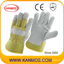 Amarillo Stripe Industrial de seguridad de cuero de vaca dividir guantes de trabajo de cuero (110075)