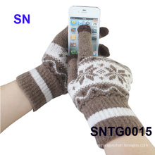 2015 guantes de acrílico de la pantalla táctil del Jacquard de la venta caliente de la manera