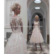 Vestidos De Noiva Puffy Lace Ball Gown manga larga 2017 longitud de la rodilla vestidos de boda cortos MW977