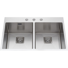 S2112 Fregadero de cocina de acero inoxidable hecho a mano Topmount