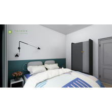 Dormitorio de moda con cabecera de tubo de metal
