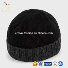 Bonnet de cachemire tricoté en gros de haute qualité