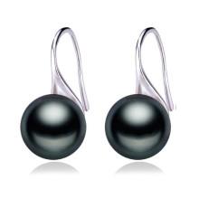 9-10mm AAA Variedad de colores de agua dulce 925 botón de plata perla Pendiente