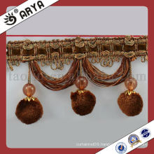 Brown Pompom Trim Fringe for Accessory Home Textile Tassel in Good Qulity