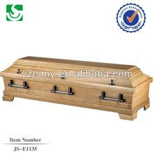 boîte de cercueil en teck massif de vente chaude