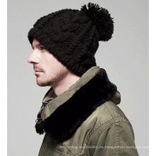 Moda Beckham mano tejiendo el sombrero de invierno de punto