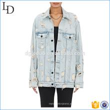 Cuello extendido chaqueta de mezclilla oversize luz lavado color con angustia