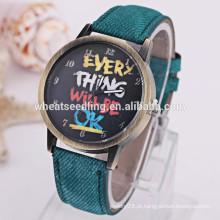 Nova moda unisex tecido pulseira relógio