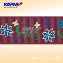 3 Color Pigment Print And Metallic Printed grosgrain ribbon