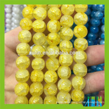 Crystal 12mm Glass Yellow Round Jade Jewelry Crackle Beads