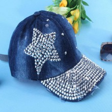 2014 new fashion spring autumn diamante Rivet five-pointed star Jeans peak cap adjustable baseball cap