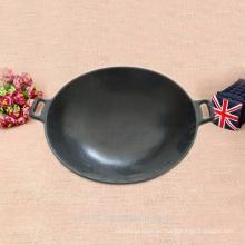 Wok negro chino de 37cm usado para el gas y la inducción