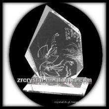 K9 Intaglio de cristal artesanal com camarão