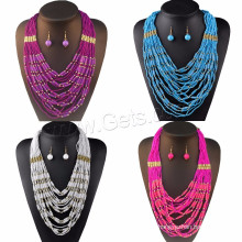 Venda de jóias de moda vidro mar Beads brinco e colar Africano Beads Jewelry Set