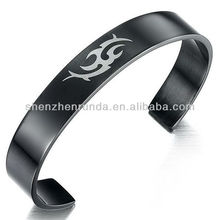 Wholesale Custom Engrave LOGO Bangles Black Plated Stainless Steel Jewelry for Men Bracelet