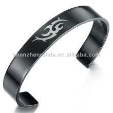 Venda Por Atacado Custom Engrave LOGO Bangles Black Plated Jóias de aço inoxidável para homens Pulseira