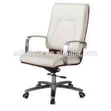 2017 Белый кожаный PU самомоднейший стул компьютера вращающееся кресло с подлокотниками хром