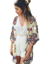Spring Autumn Women Fashion Printed Three Quarter Sleeve Cardigan Coat