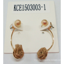 Fabric Flower Golden Earring Fashion Jewelry