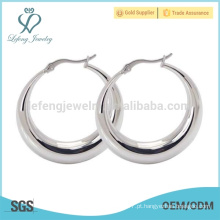 Aço inoxidável grandes brincos de prata hoop desgaste casual atacado