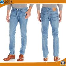 Pantalones de mezclilla recta ajustados nuevos hombres Blue Jeans