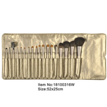 18pcs light golden plastic handle animal/nylon hair makeup brush tool set with light golden satin case