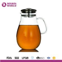 Carafe en verre d'eau en gros avec le couvercle d'acier inoxydable pour le jus, le thé glacé, la limonade