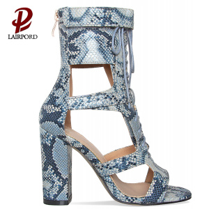 hot sale blue serpentine PU ankle sandals